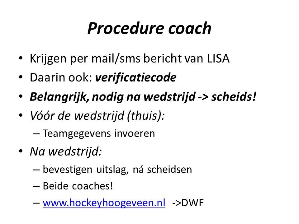Procedure coach Krijgen per mail/sms bericht van LISA