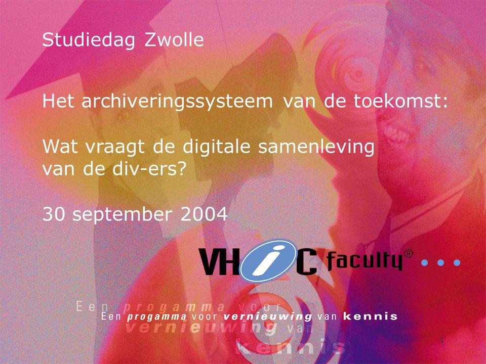 Studiedag Zwolle Het archiveringssysteem van de toekomst: Wat vraagt de digitale samenleving van de div-ers.