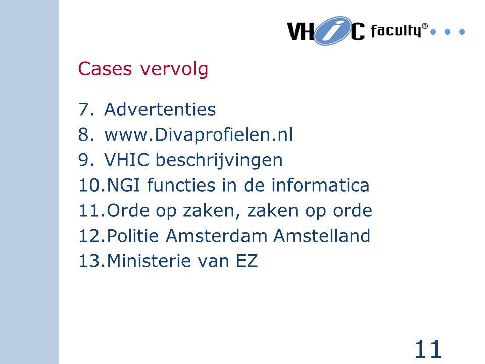 Cases vervolg Advertenties www.Divaprofielen.nl VHIC beschrijvingen