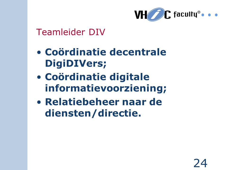 Coördinatie decentrale DigiDIVers;
