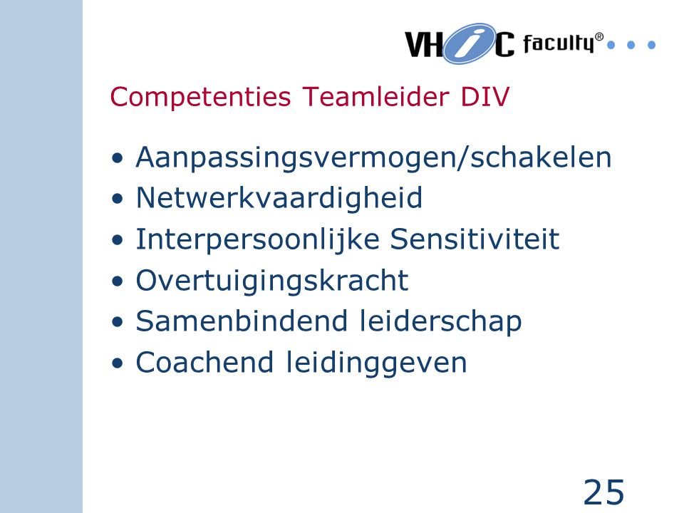 Competenties Teamleider DIV