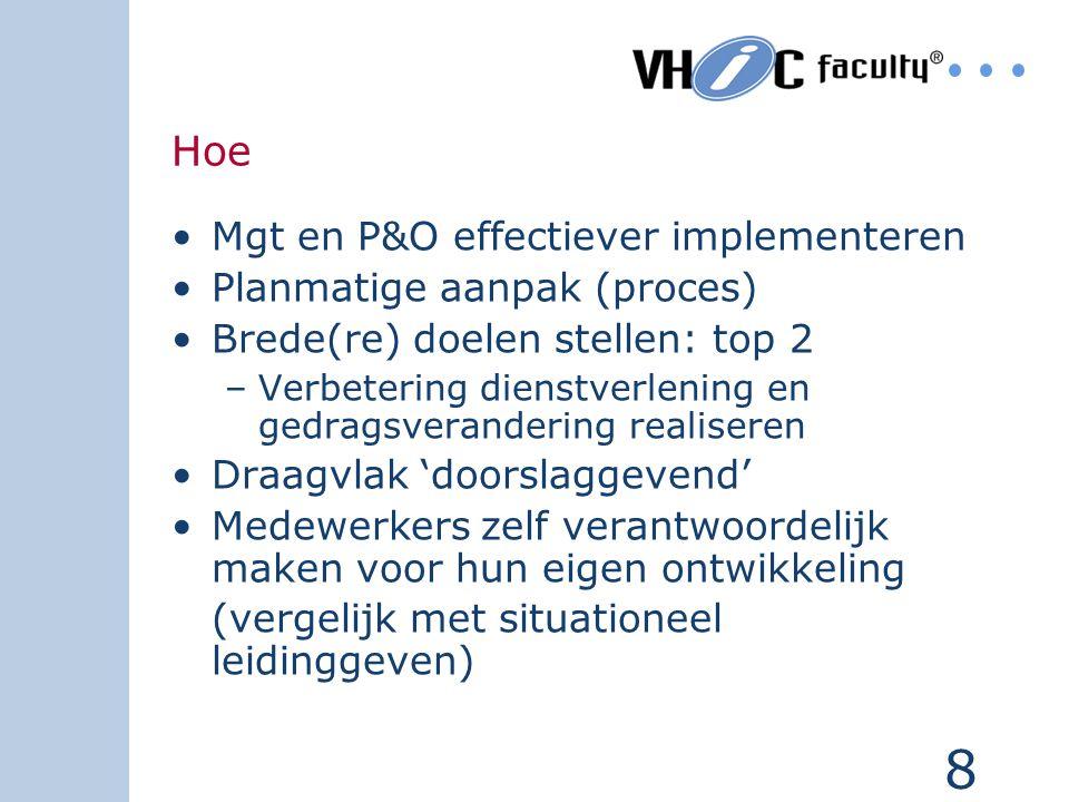 Hoe Mgt en P&O effectiever implementeren Planmatige aanpak (proces)