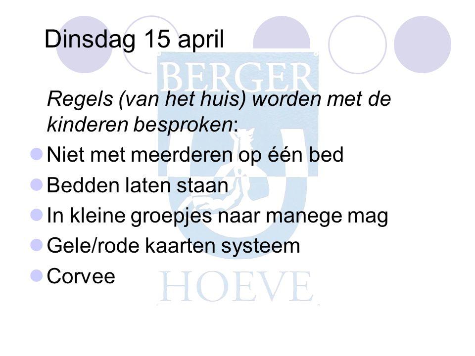 Dinsdag 15 april Regels (van het huis) worden met de kinderen besproken: Niet met meerderen op één bed.