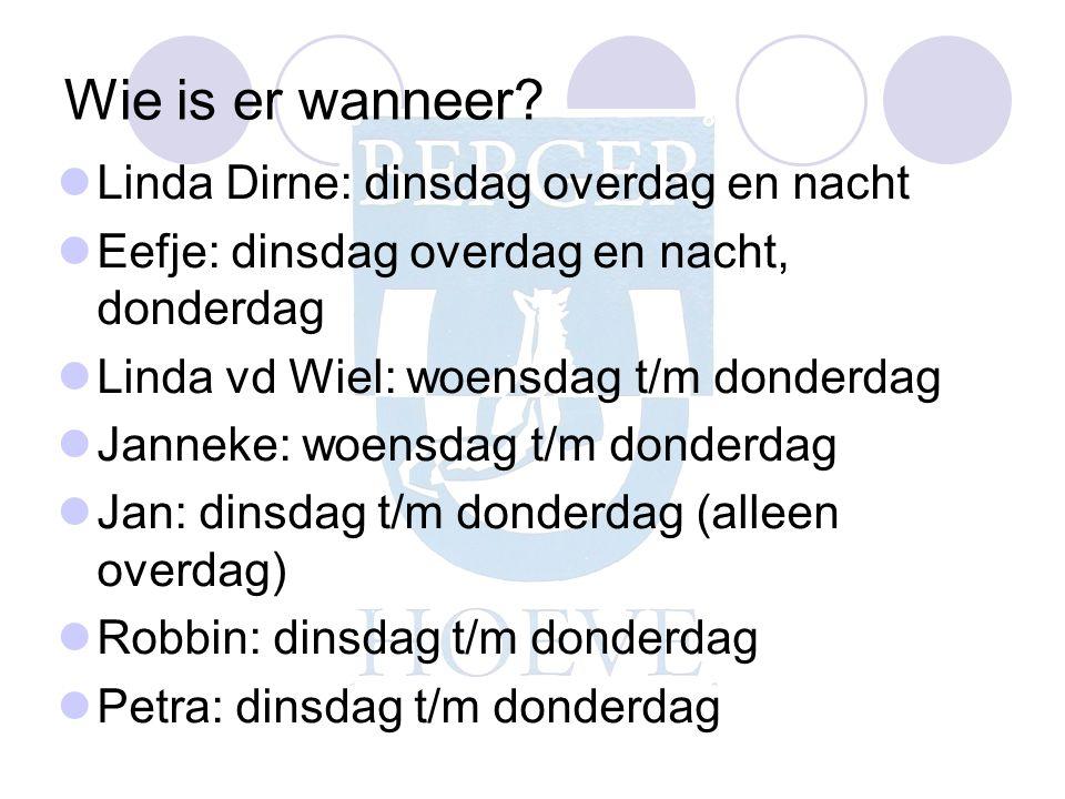 Wie is er wanneer Linda Dirne: dinsdag overdag en nacht