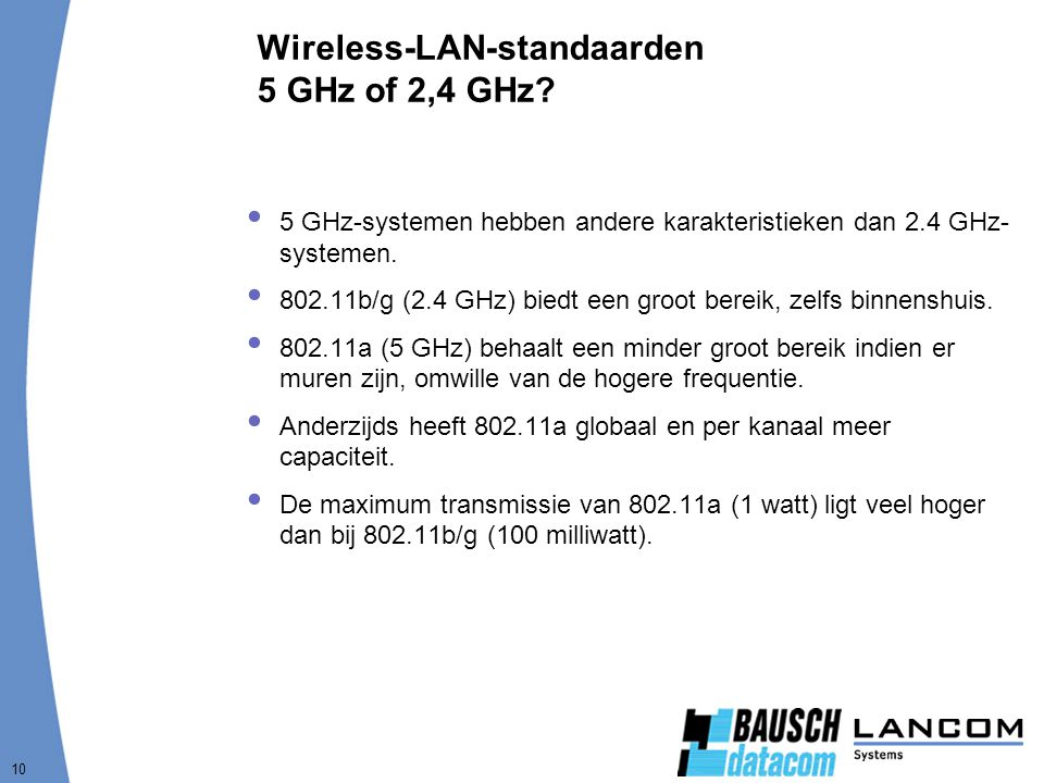 Wireless-LAN-standaarden 5 GHz of 2,4 GHz