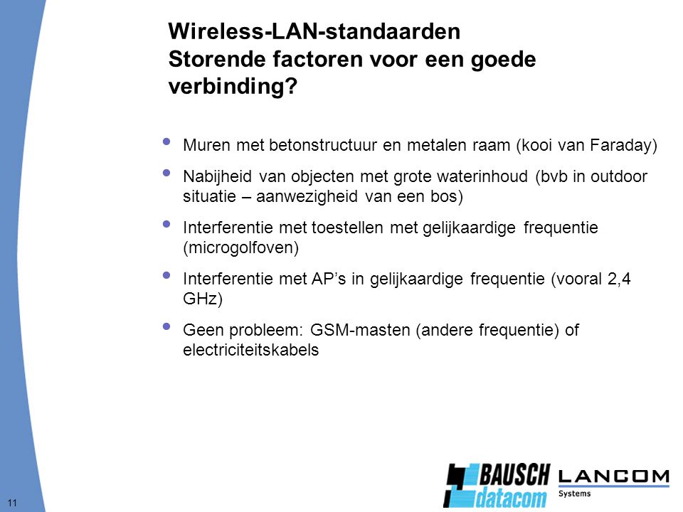 Wireless-LAN-standaarden Storende factoren voor een goede verbinding