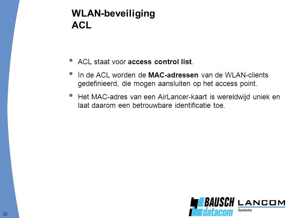 WLAN-beveiliging ACL ACL staat voor access control list.
