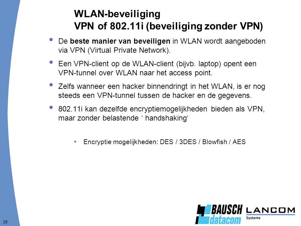 WLAN-beveiliging VPN of 802.11i (beveiliging zonder VPN)