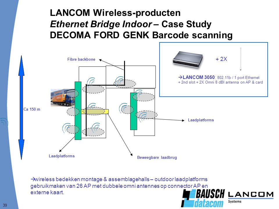 LANCOM Wireless-producten Ethernet Bridge Indoor – Case Study DECOMA FORD GENK Barcode scanning