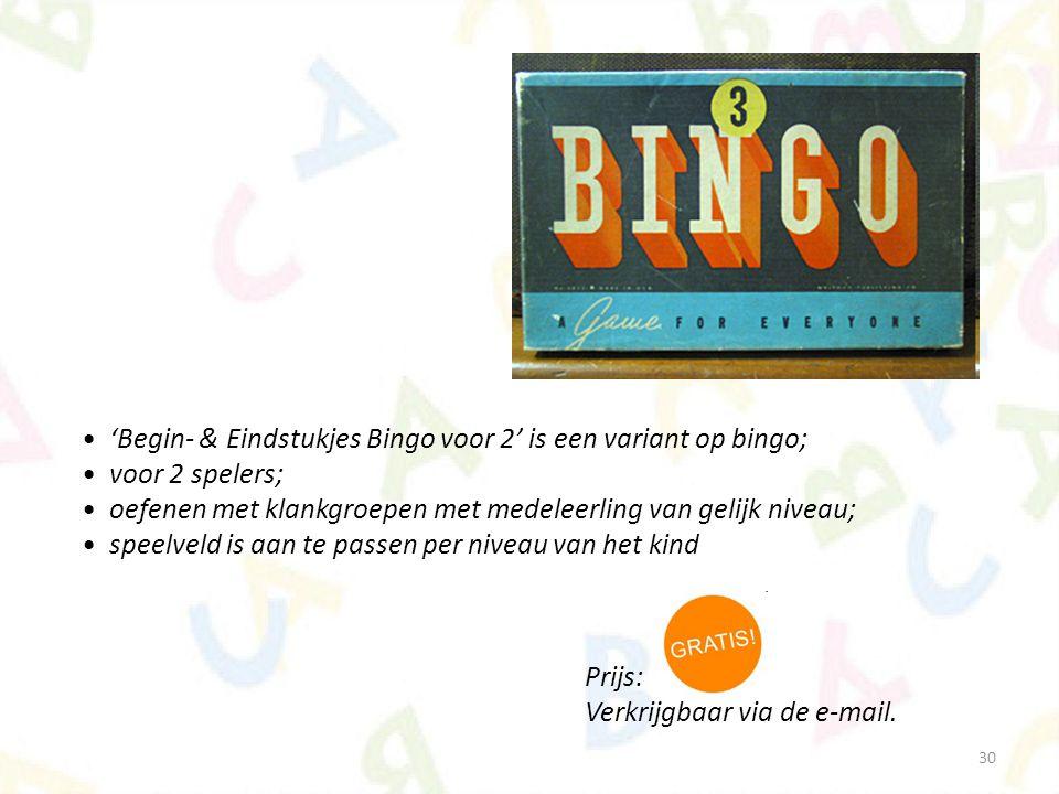 'Begin- & Eindstukjes Bingo voor 2' is een variant op bingo;