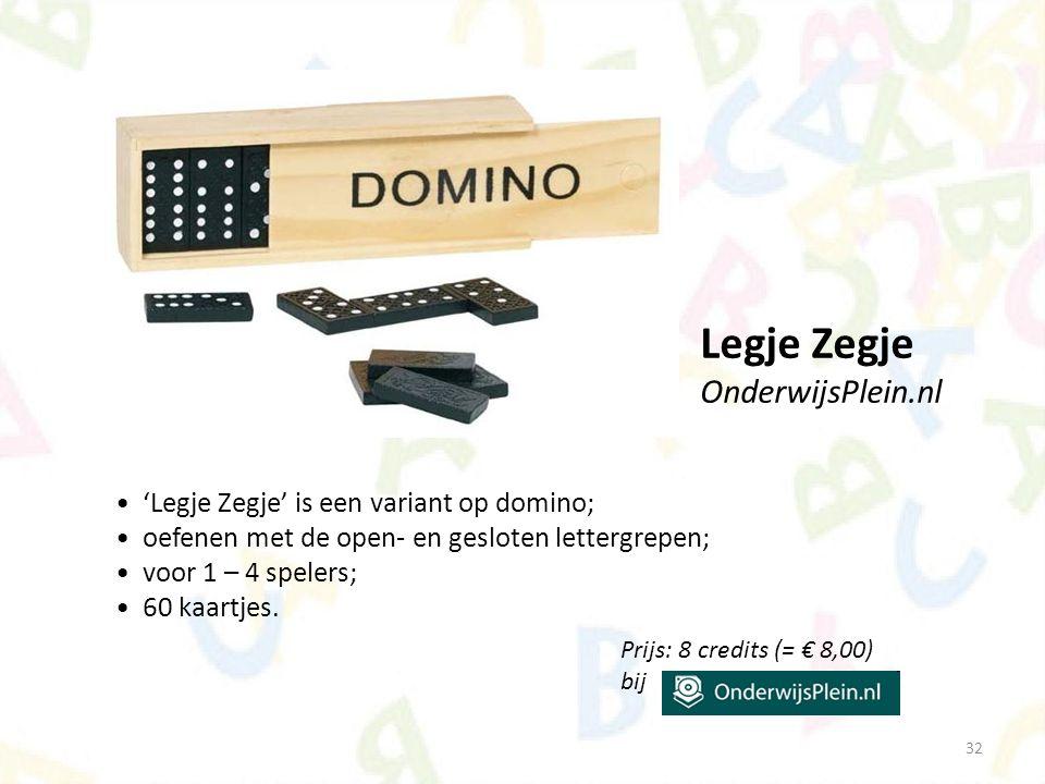 Legje Zegje OnderwijsPlein.nl 'Legje Zegje' is een variant op domino;