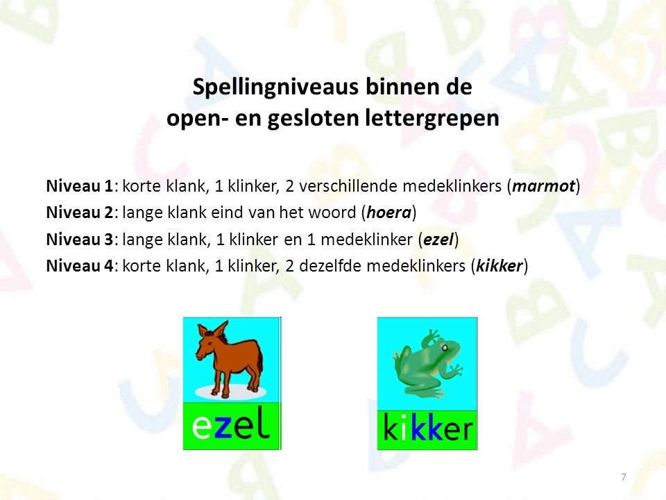 Spellingniveaus binnen de open- en gesloten lettergrepen