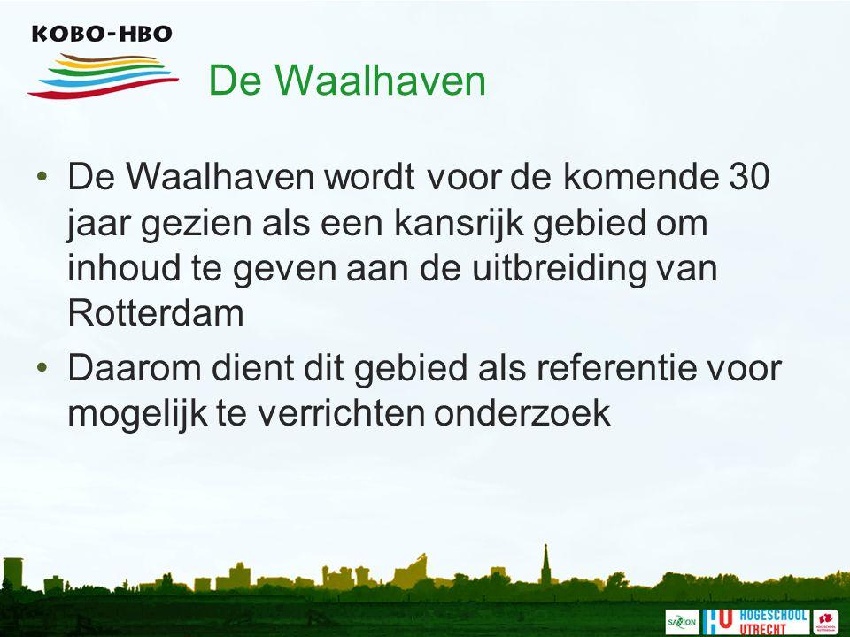 De Waalhaven De Waalhaven wordt voor de komende 30 jaar gezien als een kansrijk gebied om inhoud te geven aan de uitbreiding van Rotterdam.