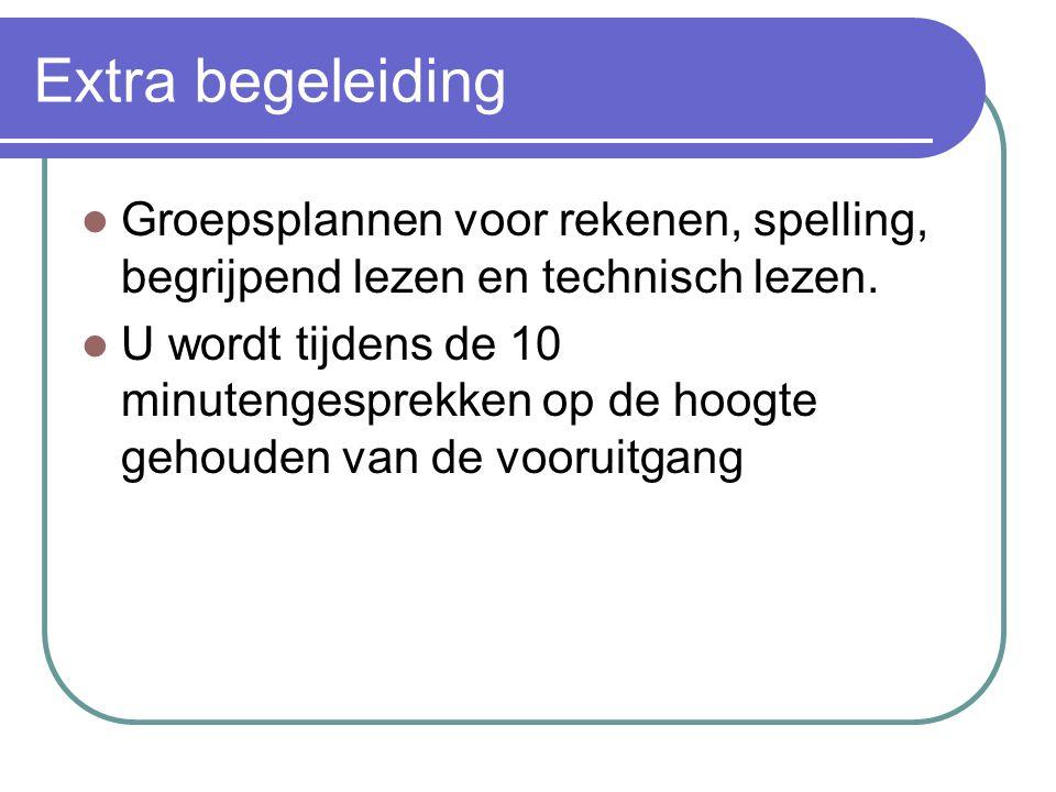 Extra begeleiding Groepsplannen voor rekenen, spelling, begrijpend lezen en technisch lezen.