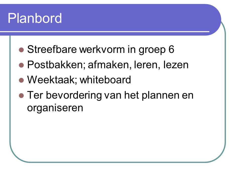 Planbord Streefbare werkvorm in groep 6