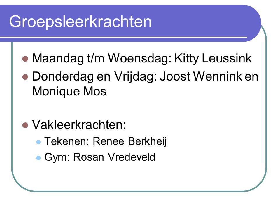 Groepsleerkrachten Maandag t/m Woensdag: Kitty Leussink