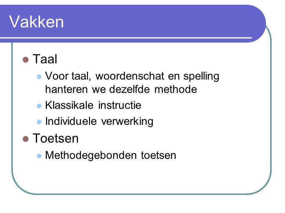 Vakken Taal. Voor taal, woordenschat en spelling hanteren we dezelfde methode. Klassikale instructie.