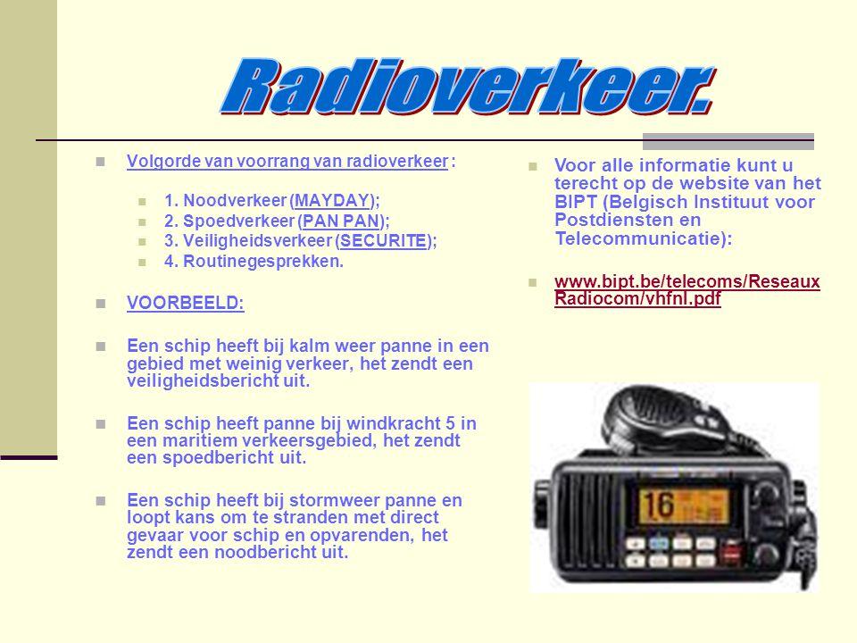 Radioverkeer. Volgorde van voorrang van radioverkeer : 1. Noodverkeer (MAYDAY); 2. Spoedverkeer (PAN PAN);