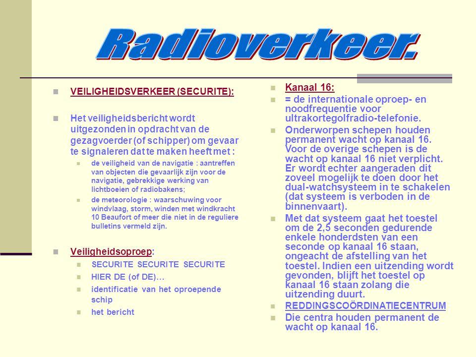 Radioverkeer. VEILIGHEIDSVERKEER (SECURITE):