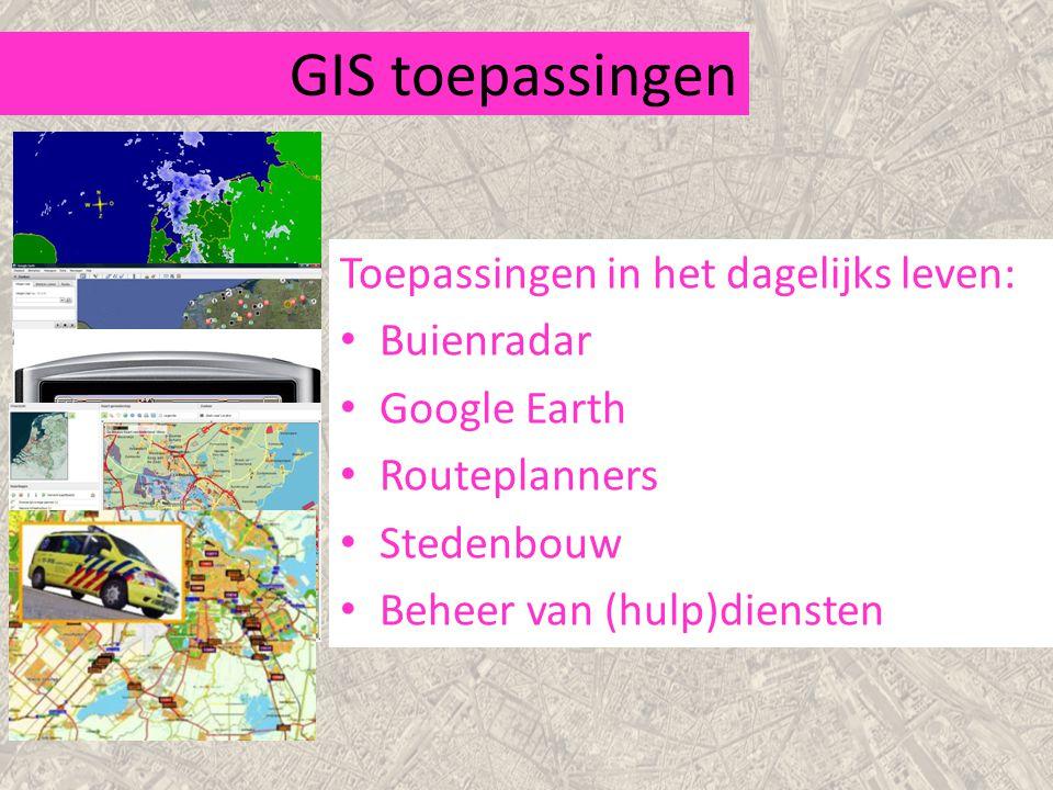 GIS toepassingen Toepassingen in het dagelijks leven: Buienradar
