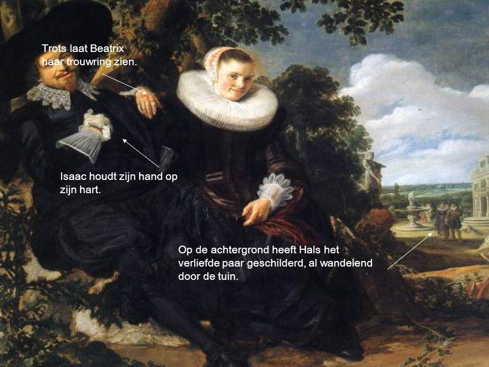 Trots laat Beatrix haar trouwring zien.