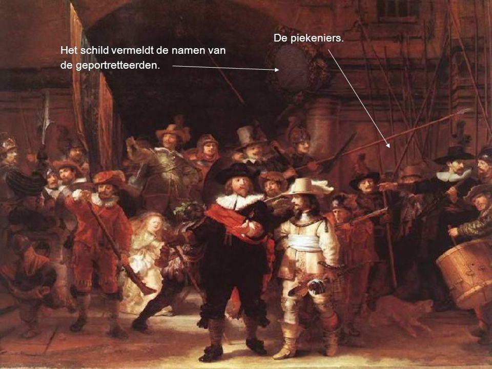 De piekeniers. Het schild vermeldt de namen van de geportretteerden.