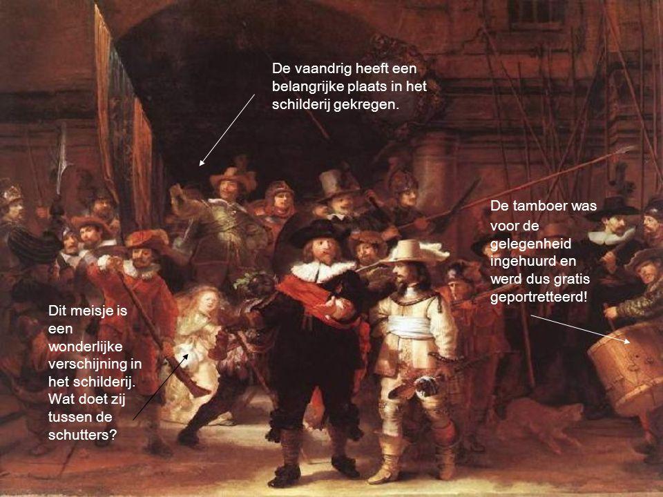 De vaandrig heeft een belangrijke plaats in het schilderij gekregen.