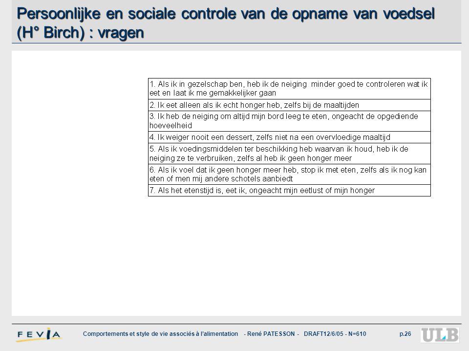 Persoonlijke en sociale controle van de opname van voedsel (H° Birch) : vragen