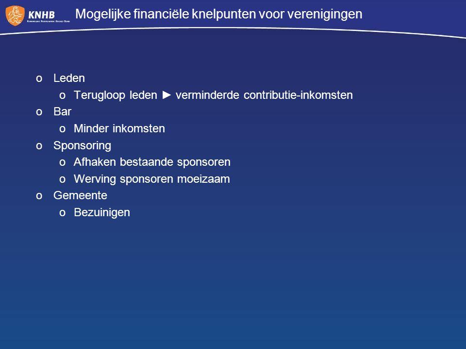 Mogelijke financiële knelpunten voor verenigingen