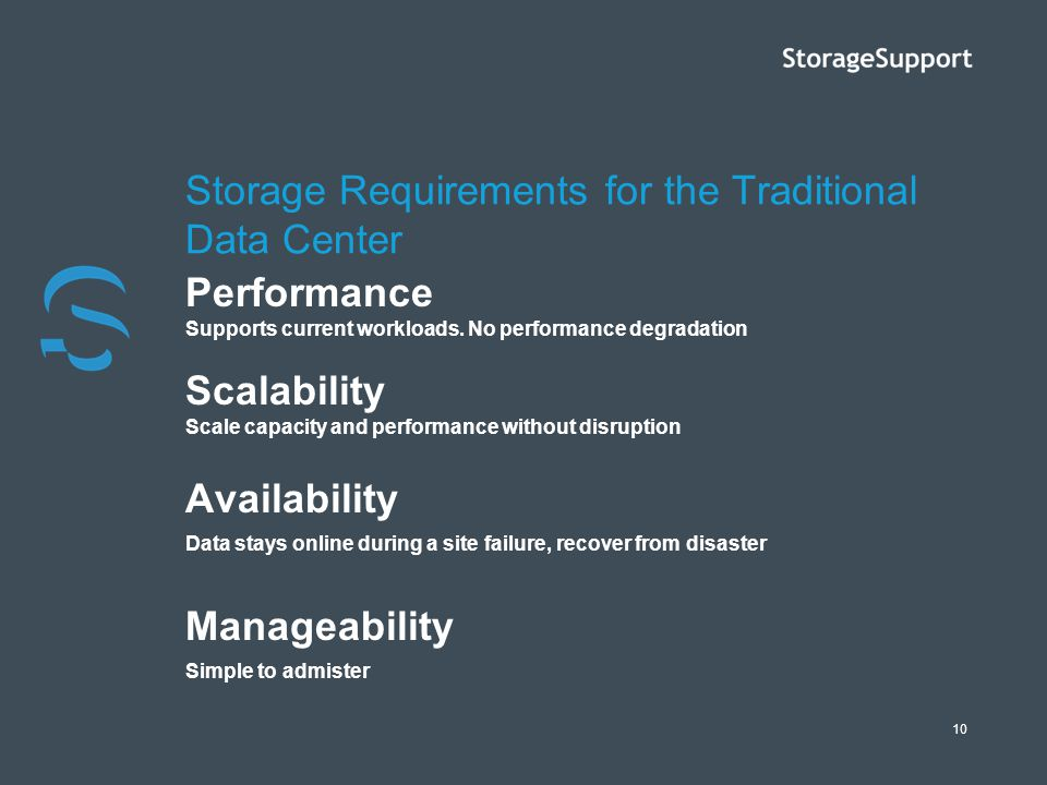 Storage Requirements for the Traditional Data Center