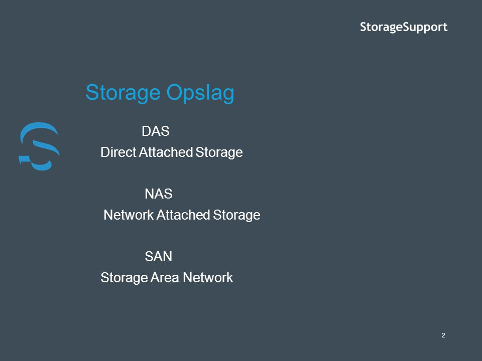 Storage Opslag Direct Attached Storage NAS Network Attached Storage
