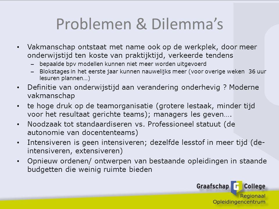 Problemen & Dilemma's Vakmanschap ontstaat met name ook op de werkplek, door meer onderwijstijd ten koste van praktijktijd, verkeerde tendens.