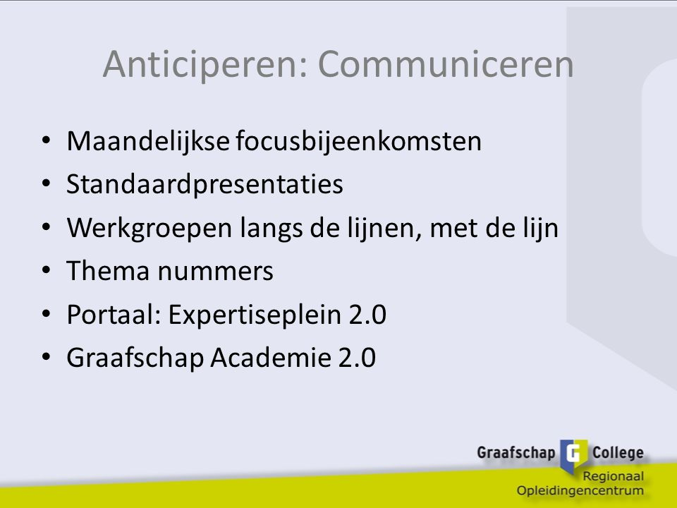 Anticiperen: Communiceren