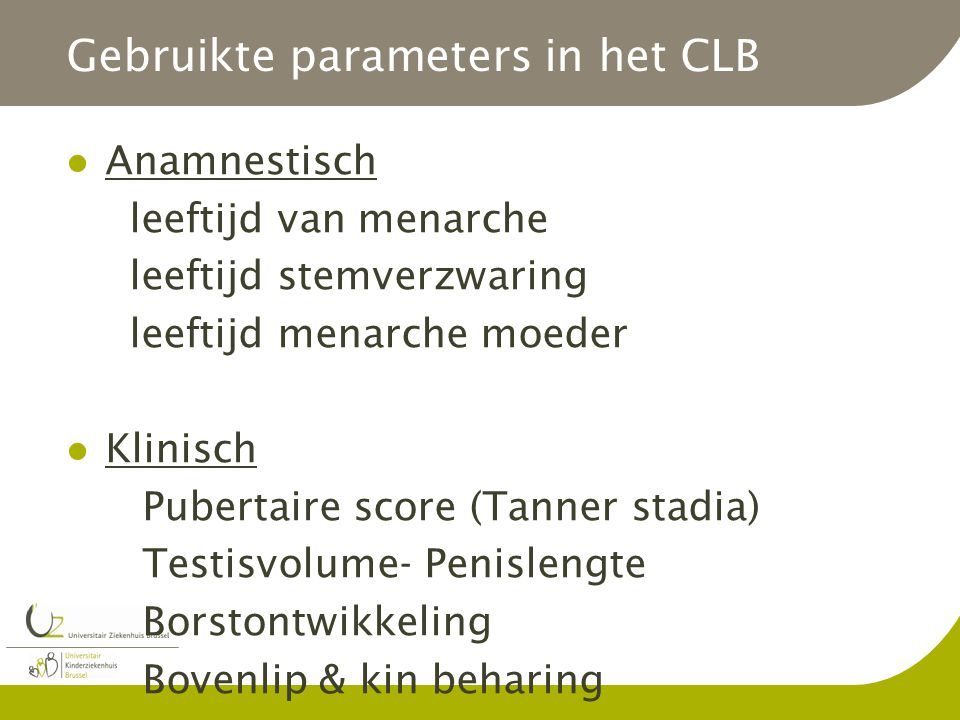 Gebruikte parameters in het CLB