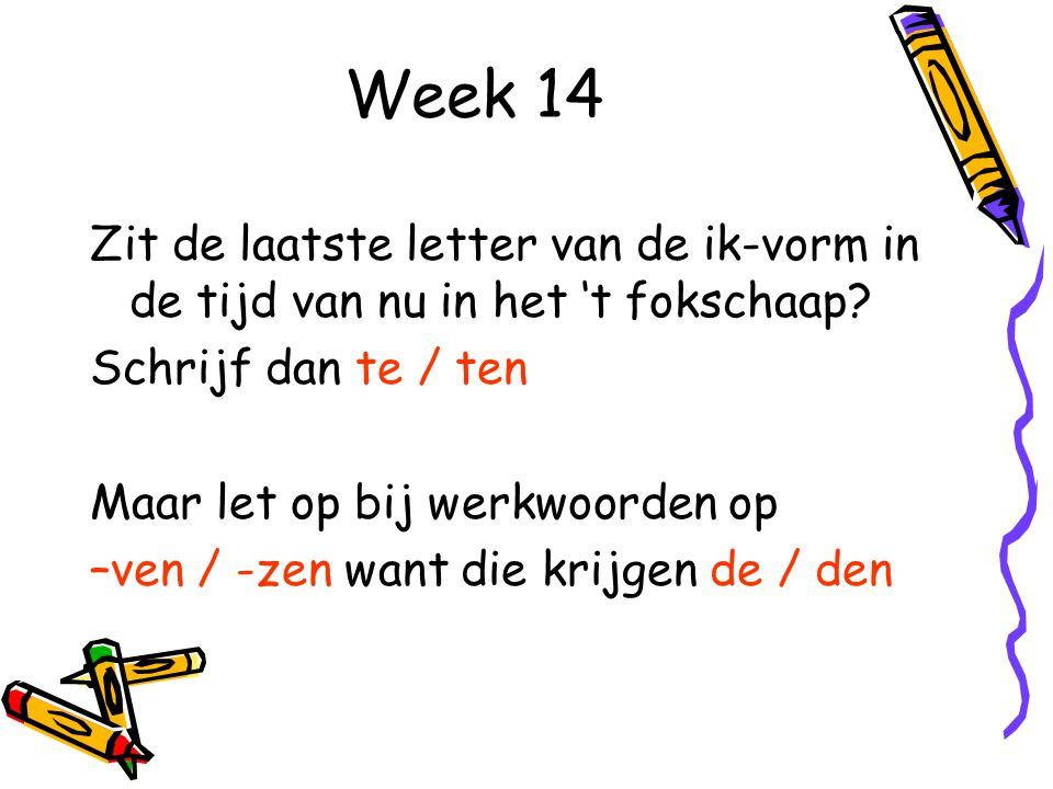 Week 14 Zit de laatste letter van de ik-vorm in de tijd van nu in het 't fokschaap Schrijf dan te / ten.
