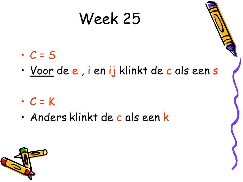 Week 25 C = S Voor de e , i en ij klinkt de c als een s C = K