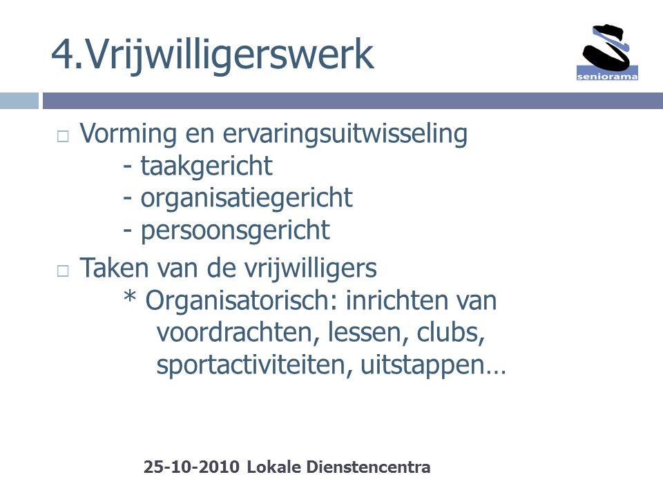 4.Vrijwilligerswerk Vorming en ervaringsuitwisseling - taakgericht - organisatiegericht - persoonsgericht.