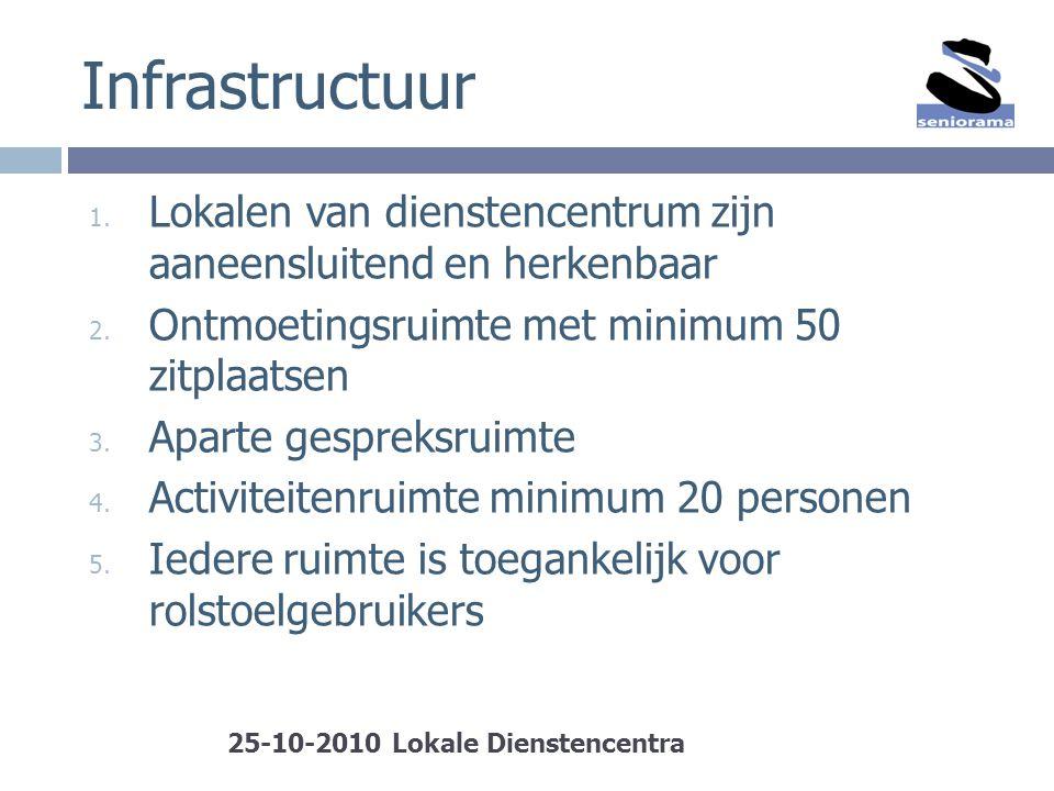Infrastructuur Lokalen van dienstencentrum zijn aaneensluitend en herkenbaar. Ontmoetingsruimte met minimum 50 zitplaatsen.
