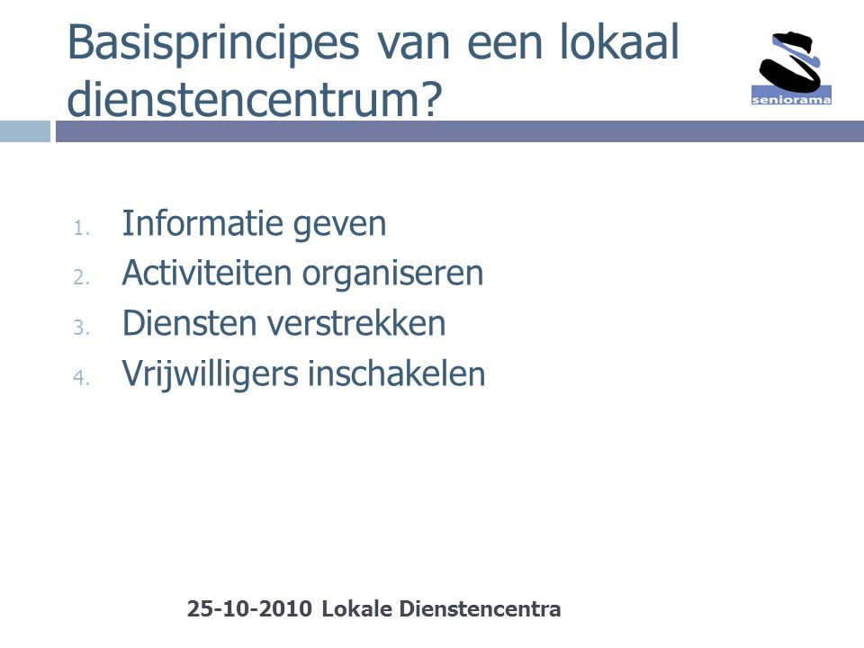 Basisprincipes van een lokaal dienstencentrum