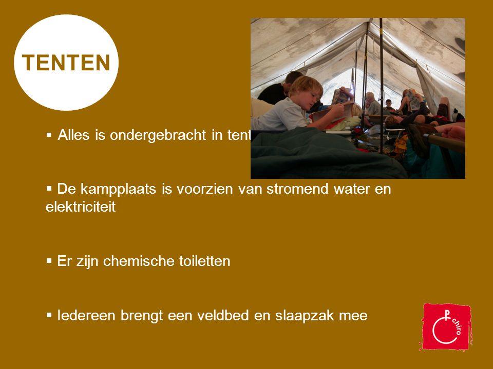 TENTEN De kampplaats is voorzien van stromend water en elektriciteit