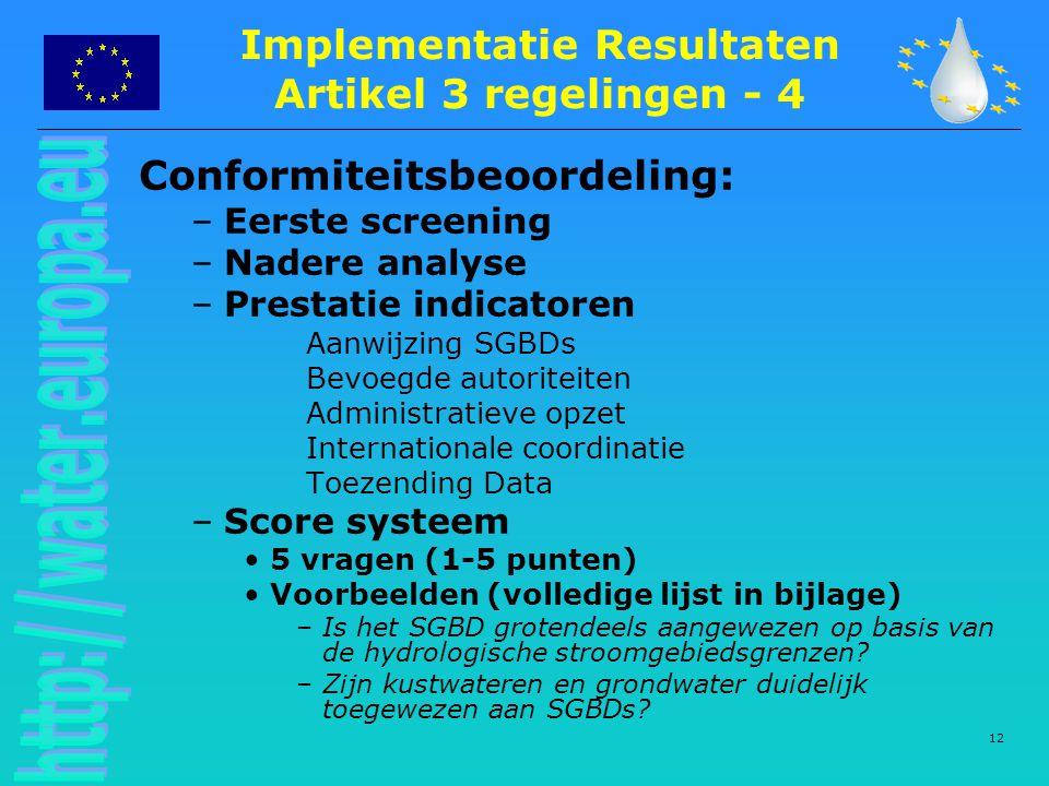 Implementatie Resultaten Artikel 3 regelingen - 4