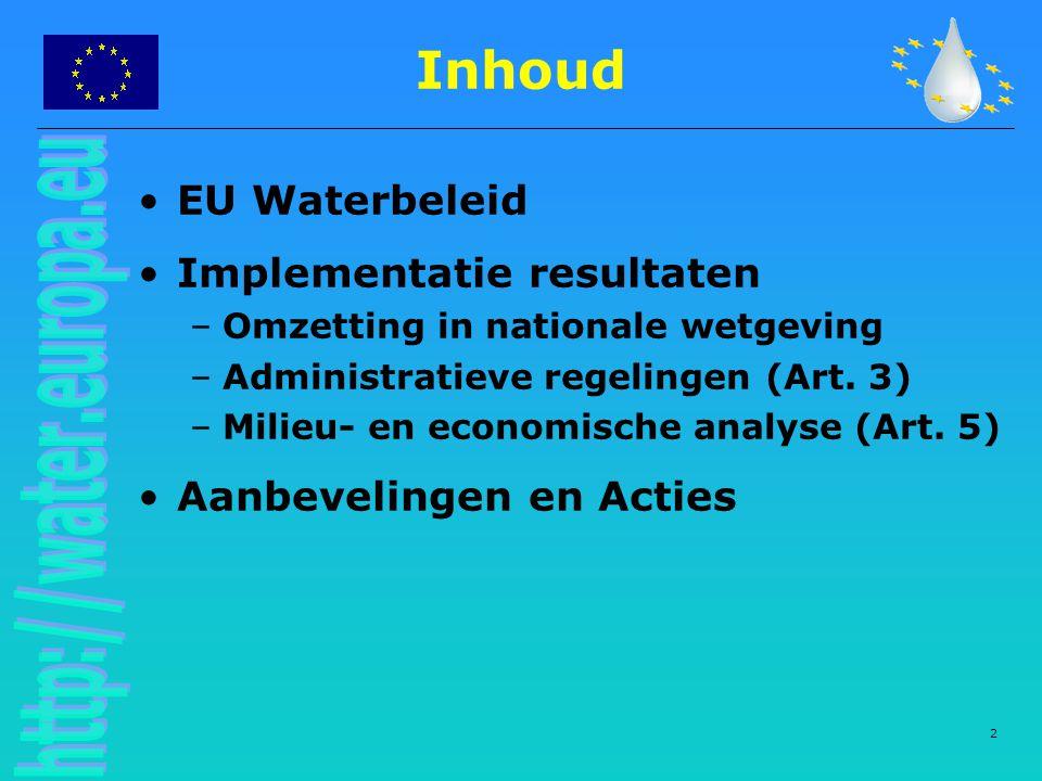 Inhoud EU Waterbeleid Implementatie resultaten Aanbevelingen en Acties