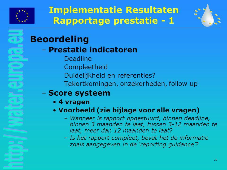 Implementatie Resultaten Rapportage prestatie - 1