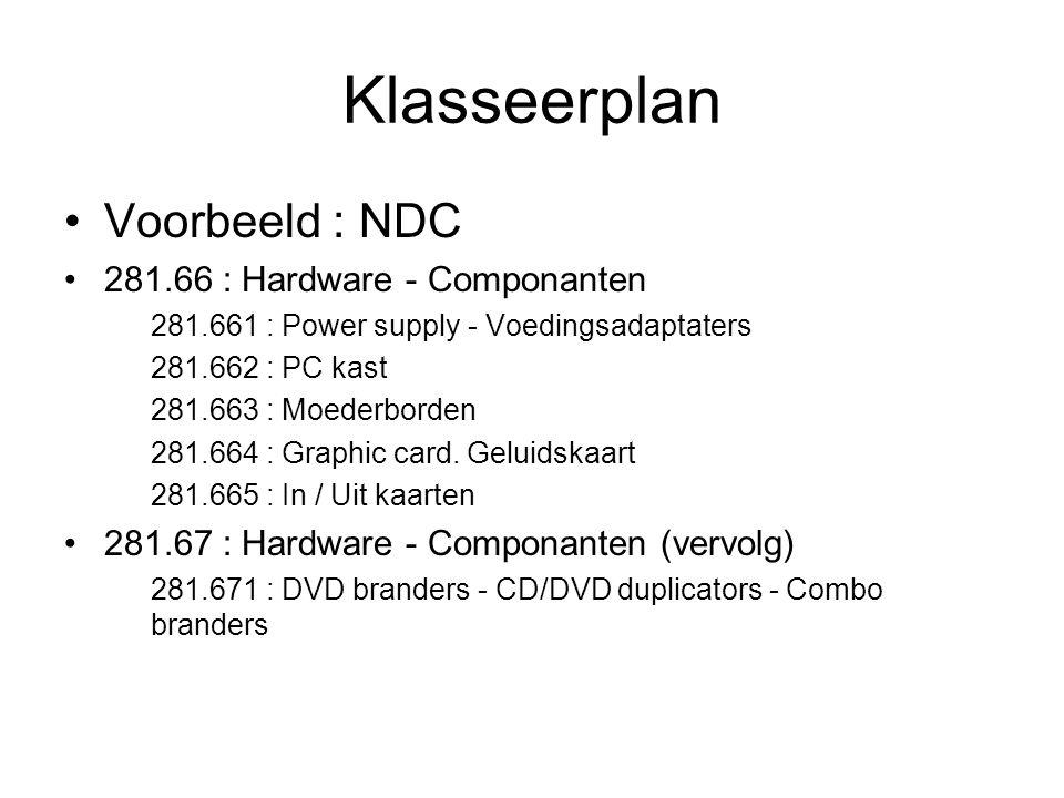 Klasseerplan Voorbeeld : NDC 281.66 : Hardware - Componanten