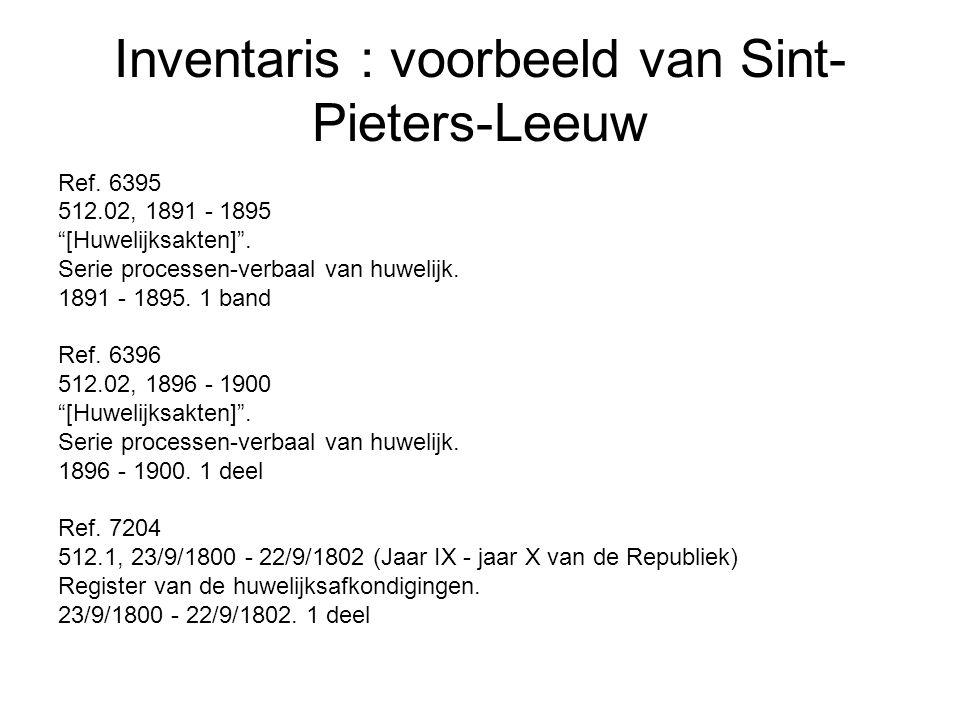 Inventaris : voorbeeld van Sint-Pieters-Leeuw
