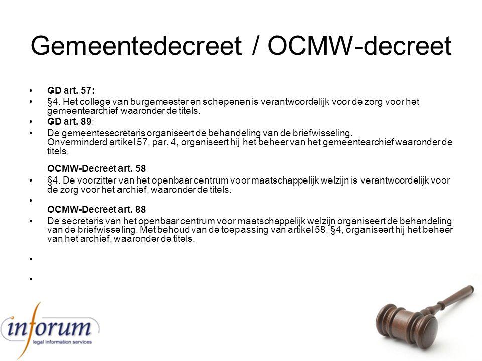 Gemeentedecreet / OCMW-decreet