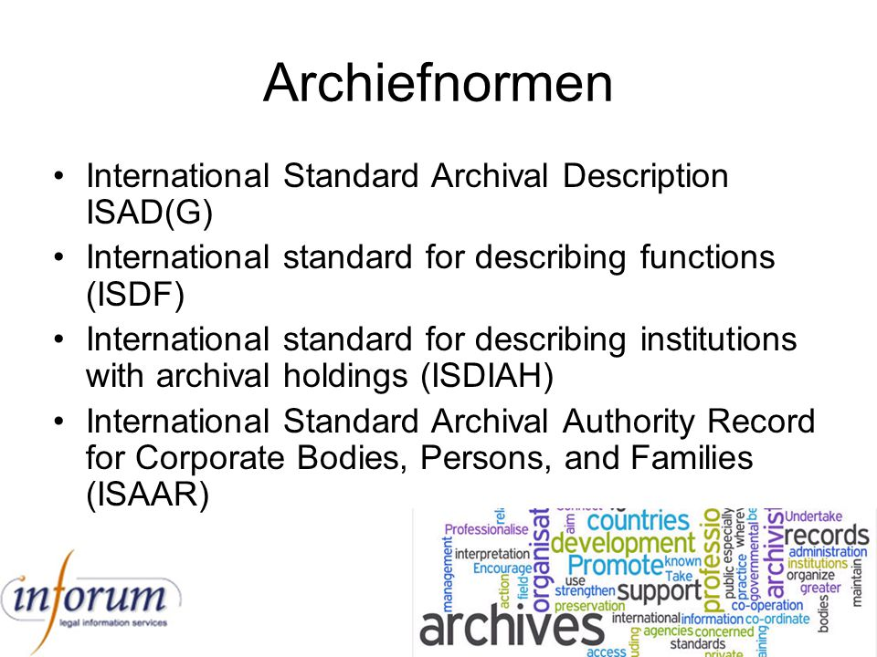 Archiefnormen International Standard Archival Description ISAD(G)
