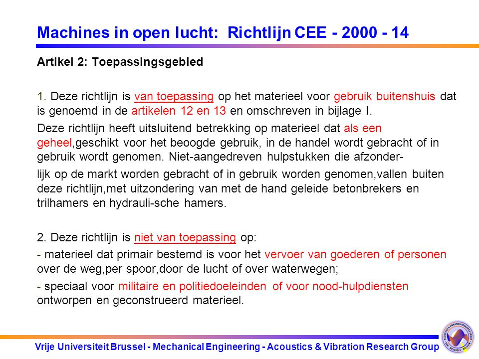 Machines in open lucht: Richtlijn CEE - 2000 - 14