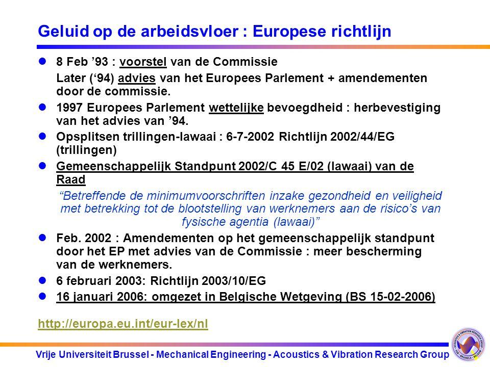 Geluid op de arbeidsvloer : Europese richtlijn
