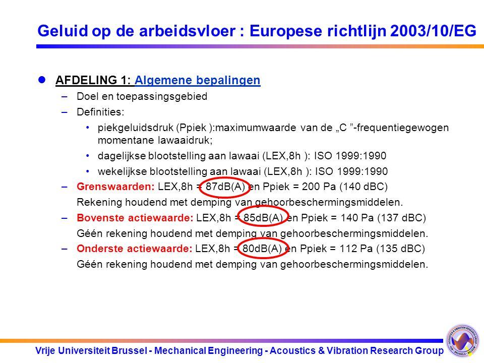 Geluid op de arbeidsvloer : Europese richtlijn 2003/10/EG